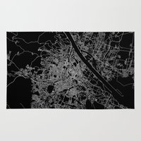 vienna Area & Throw Rugs featuring Vienna map by Line Line Lines