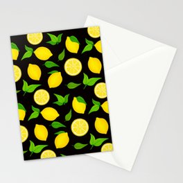 Summer Lemons Pattern - Yellow and Black Stationery Cards