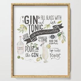 Gin Tonic Recipe In Watercolor Serving Tray