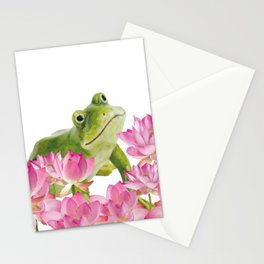 Lotos - Lotus Flower Frog Illustration Stationery Cards