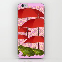 GREEN FROGS UNDER RED UMBRELLA'S PINK WHIMSY iPhone Skin