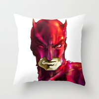 daredevil Throw Pillows featuring DAREDEVIL by peocle