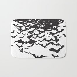 Halloween Bat Black and White Pattern Bath Mat