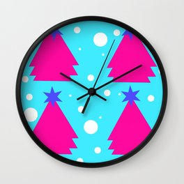 Pink Christmas tree on turquoise background Wall Clock