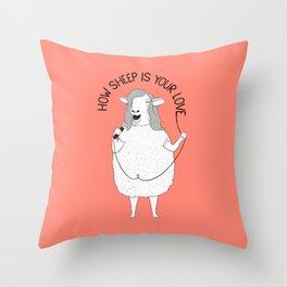 Sheep singing Bee Gees   Animal Karaoke   Illustration   Red Throw Pillow
