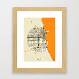 Chicago Map Moon Framed Art Print