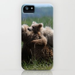 Alaska Grizzly Mother And A Cub In Katmai National Park #Society6 iPhone Case