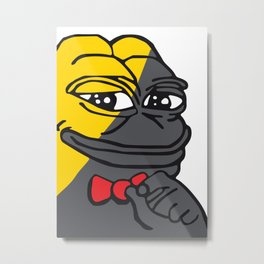 Pepe The Frog Tucker Ancap yellow black red bow tie Metal Print