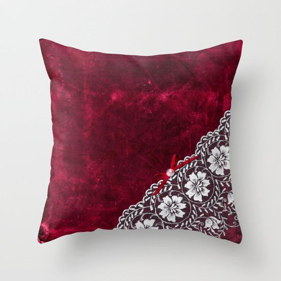 Elegant white Vintage Lace with pearl and ribbon on dark red grunge backround Throw Pillow by ...