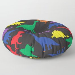 Dinosaurs - Black Floor Pillow