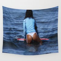 bikini Wall Tapestries featuring Bikini Girls 001 by John Lyman Photos