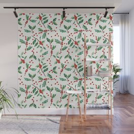 Festive Holly Pattern Wall Mural