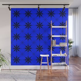 Pattern of luminous dark repetitive snowflakes on a blue background. Wall Mural