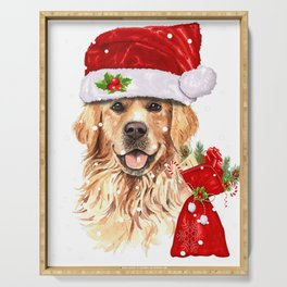 Golden Retriever Dog Christmas Holiday Gift Serving Tray