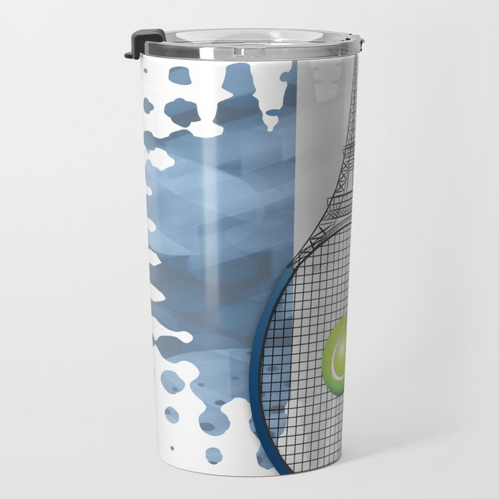 Racquet Eiffel Tower with French flag colors in background Travel Mug