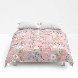 Elephants with flowers cute kids decor girls room decorations pattern Comforters