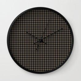 Mini Black and Sandstone Brown Western Cowboy Buffalo Check Wall Clock