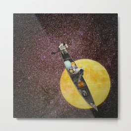 Fishing for the Moon Metal Print