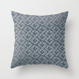 Modern Diagonal Maze Pattern in Peninsula Blue Throw Pillow