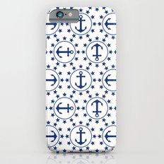 Navy Blue Anchors and Stars Nautical Pattern Slim Case iPhone 6s