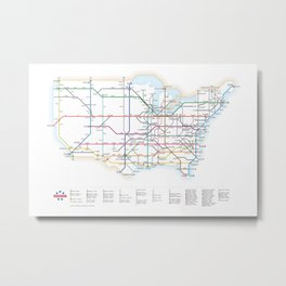 Interstate Highways as a Subway Map Metal Print
