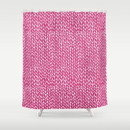 Hand Knit Hot Pink Shower Curtain