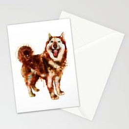 Husky Dog Watercolor Painting Stationery Cards