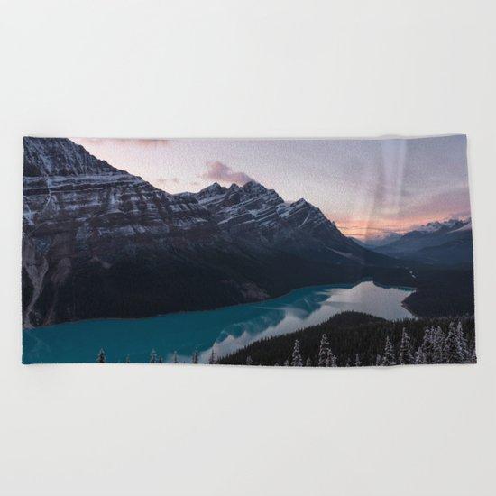 Peyto Lake at dusk Beach Towel