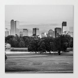 Denver Skyline in BW Monochrome Canvas Print