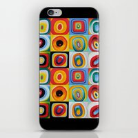 kandinsky iPhone & iPod Skins featuring Farbstudie Quardrate by Wassily Kandinsky by designforme