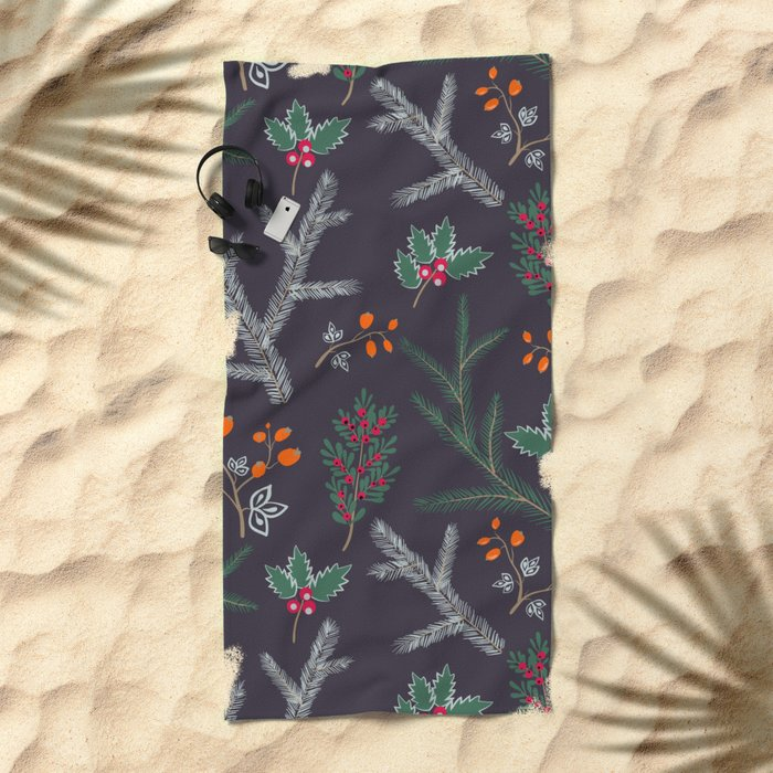 Retro. Christmas pattern . Beach Towel
