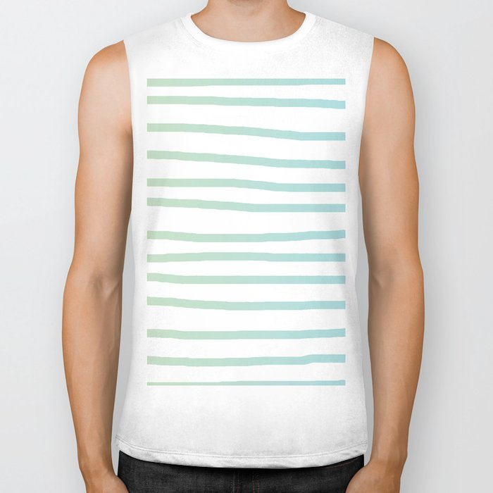 Simply Drawn Stripes in Turquoise Green Blue Gradient on White Biker Tank