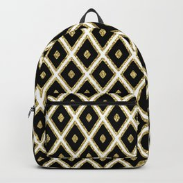 Black White Gild Diamond Pattern Backpack