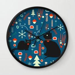 Black kitties in winter Wall Clock