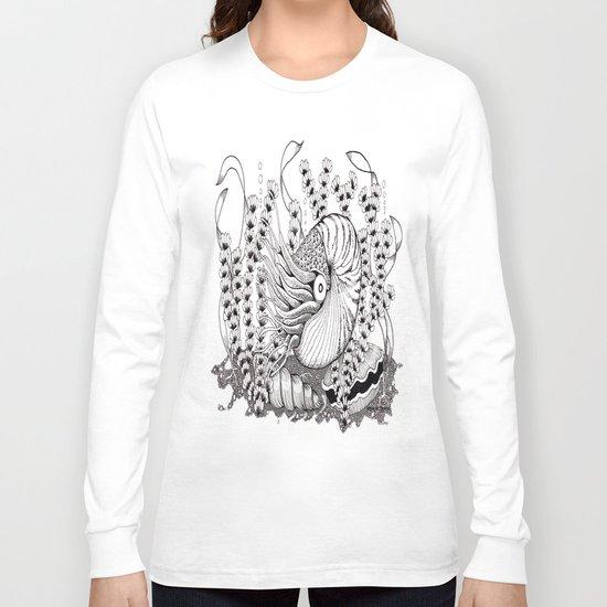 Zentangle Nautilus in the Ocean Illustration Long Sleeve T-shirt