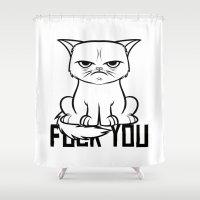 grumpy Shower Curtains featuring Grumpy Grumpy by Navass