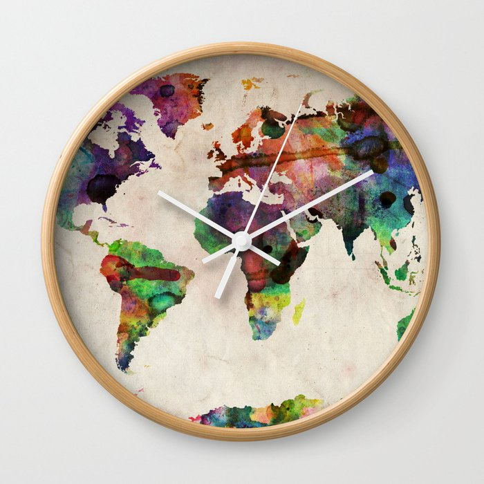 Urban Watercolor World Map.World Map Urban Watercolor Wall Clock By Artpause Society6
