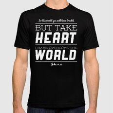 John 16:33 Mens Fitted Tee Black LARGE