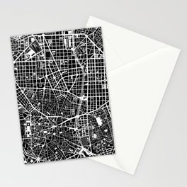 Madrid city map black&white Stationery Cards