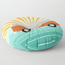 Peace, man - retro 70s hippie bus surfing socal california minimal 1970's style vibes Floor Pillow