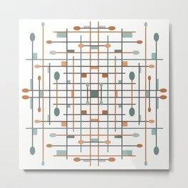 Retro Shapes - Teal Metal Print