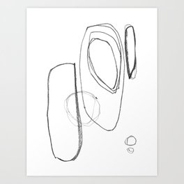 "Minimalist Geometric Abstract Line Drawing - Mid Century Modern - ""Three and Three"" Art Print"