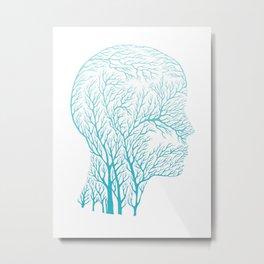 Head Profile Branches - Light Blue Metal Print