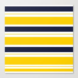 Yellow and Blue Horizontal Lines Stripes Canvas Print