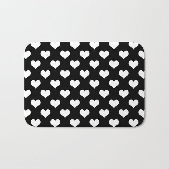 Black White Hearts Bath Mat