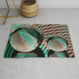 Green and red in two crystal balls. Rug