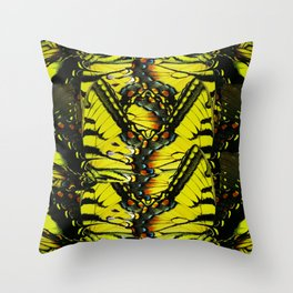 Monarch Dreams: Butterfly Wing Collage Throw Pillow