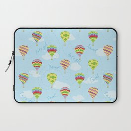 Hot Air Balloons Pattern Let's Go Travel Laptop Sleeve