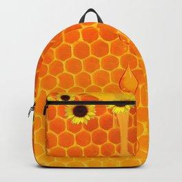 SUNFLOWERS GOLDEN HONEYCOMB WAX ART Backpack