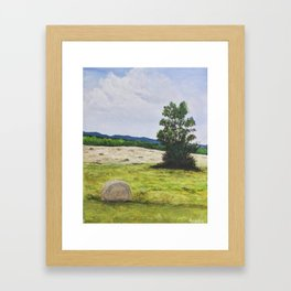 Tree in the Hayfield Framed Art Print